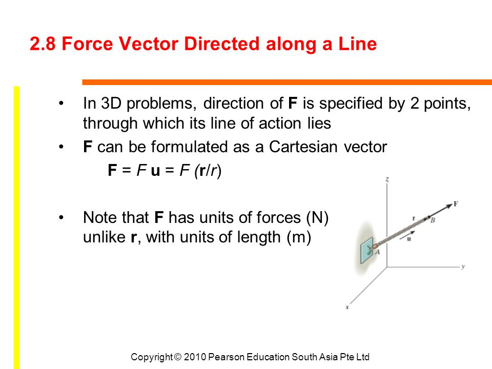2.8 Force Vector Directed along a Line In 3D problems, direction of F is specified by 2 points, through which its line of action lies F can be formula