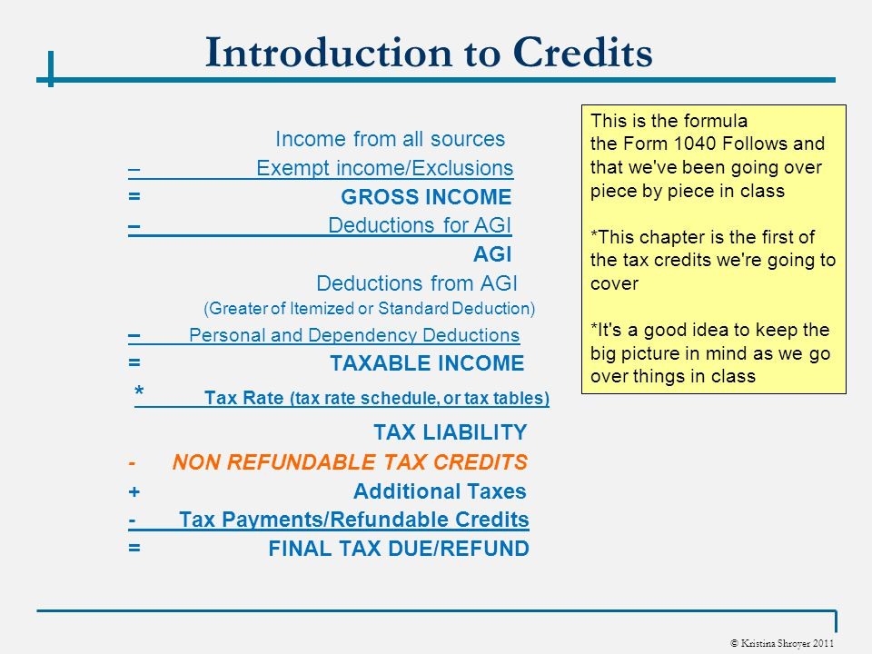 © Kristina Shroyer 2011 Introduction to Credits Income from all sources – Exempt income/Exclusions = GROSS INCOME – Deductions for AGI AGI Deductions from AGI (Greater of Itemized or Standard Deduction) – Personal and Dependency Deductions = TAXABLE INCOME * Tax Rate (tax rate schedule, or tax tables) TAX LIABILITY - NON REFUNDABLE TAX CREDITS + Additional Taxes - Tax Payments/Refundable Credits = FINAL TAX DUE/REFUND This is the formula the Form 1040 Follows and that we ve been going over piece by piece in class *This chapter is the first of the tax credits we re going to cover *It s a good idea to keep the big picture in mind as we go over things in class