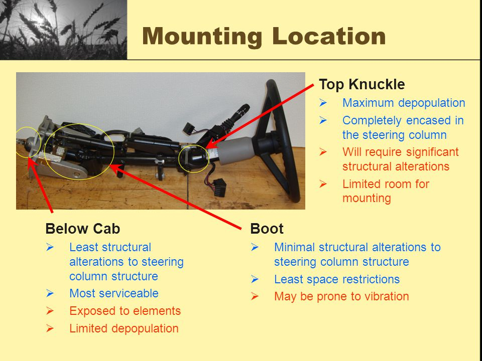 Mounting Location Below Cab  Least structural alterations to steering column structure  Most serviceable  Exposed to elements  Limited depopulation Boot  Minimal structural alterations to steering column structure  Least space restrictions  May be prone to vibration Top Knuckle  Maximum depopulation  Completely encased in the steering column  Will require significant structural alterations  Limited room for mounting