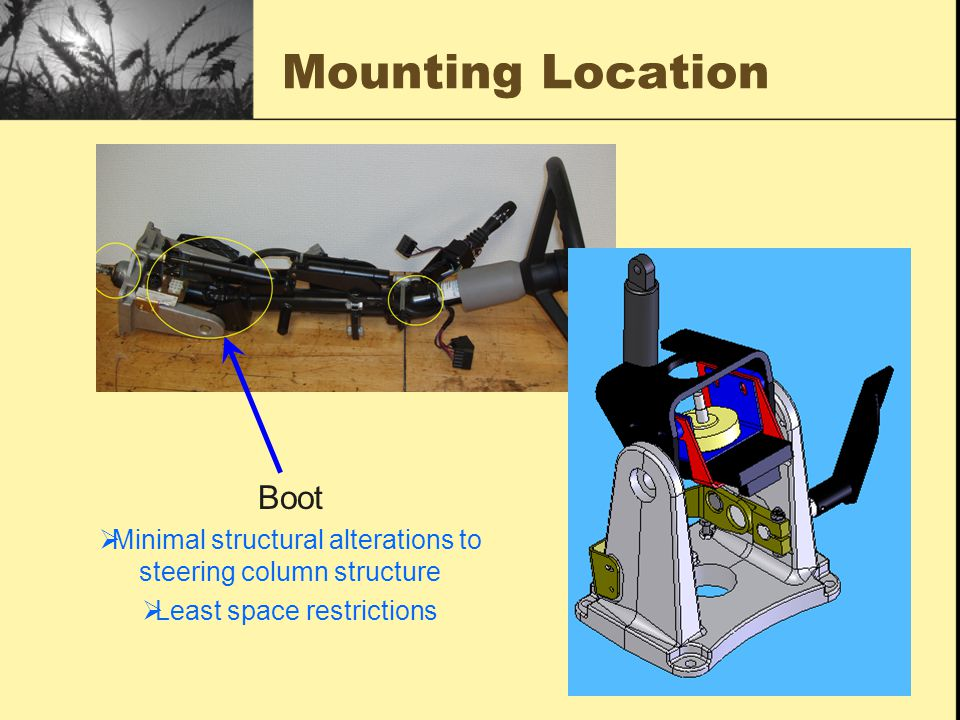 Mounting Location Boot  Minimal structural alterations to steering column structure  Least space restrictions