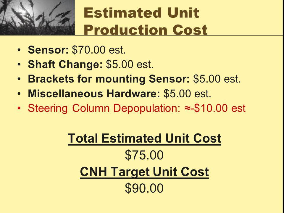 Estimated Unit Production Cost Sensor: $70.00 est. Shaft Change: $5.00 est. Brackets for mounting Sensor: $5.00 est. Miscellaneous Hardware: $5.00 est
