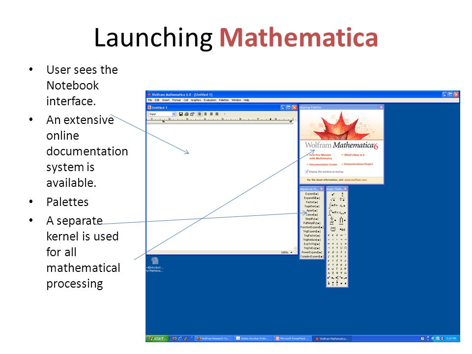 Launching Mathematica User sees the Notebook interface.
