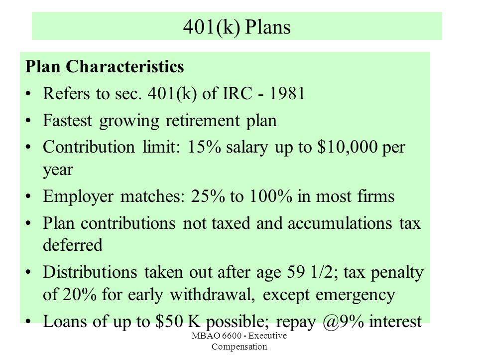 MBAO 6600 - Executive Compensation 401(k) Plans Plan Characteristics Refers to sec.