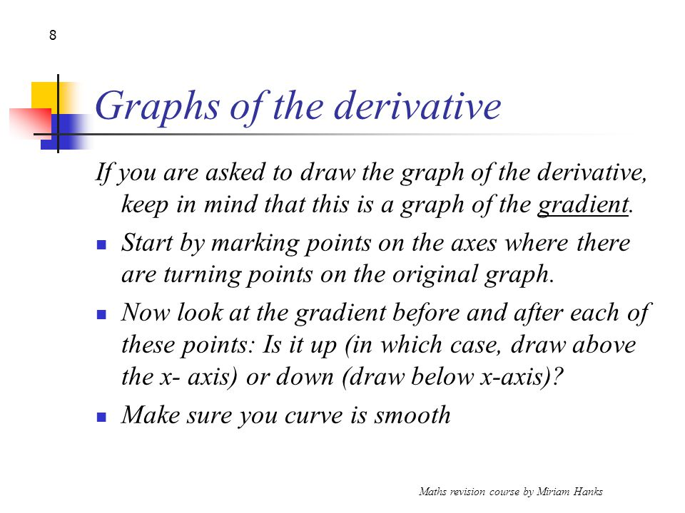 Maths revision course by Miriam Hanks 8 Graphs of the derivative If you are asked to draw the graph of the derivative, keep in mind that this is a graph of the gradient.