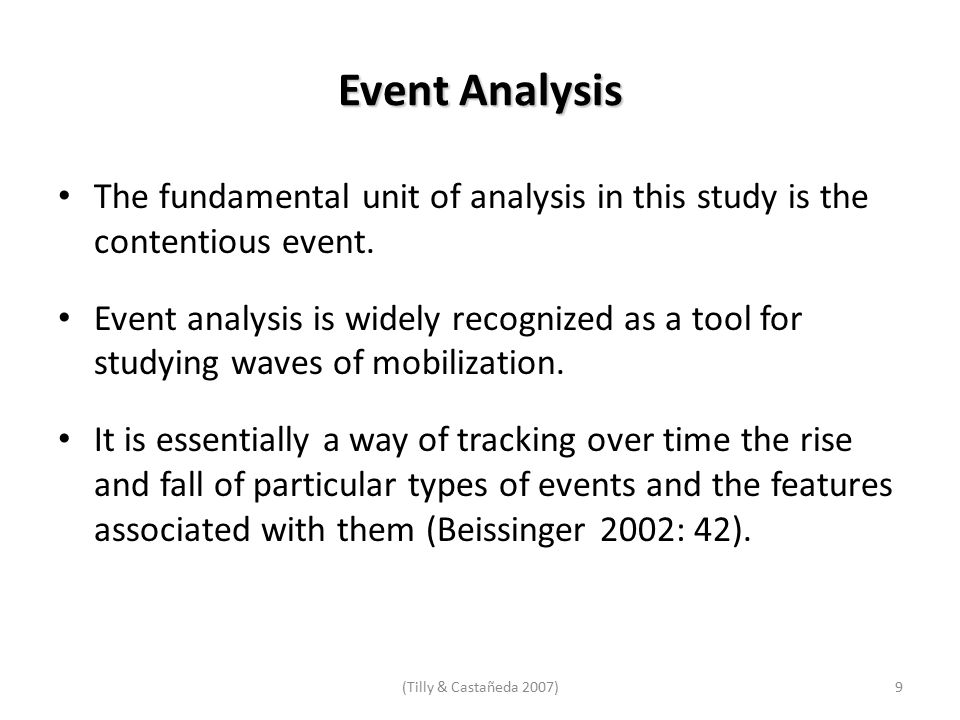 Event Analysis The fundamental unit of analysis in this study is the contentious event.