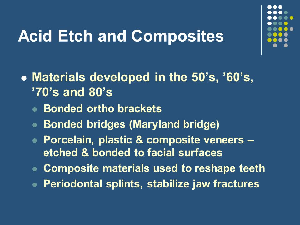 Acid Etch and Composites Materials developed in the 50's, '60's, '70's and 80's Bonded ortho brackets Bonded bridges (Maryland bridge) Porcelain, plas