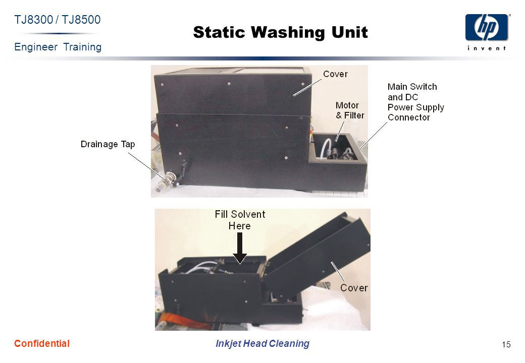 Engineer Training Inkjet Head Cleaning TJ8300 / TJ8500 Confidential 15 Static Washing Unit
