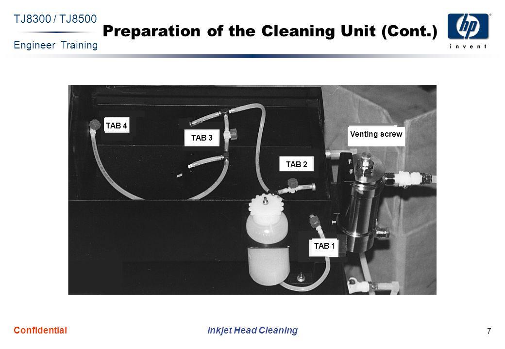 Engineer Training Inkjet Head Cleaning TJ8300 / TJ8500 Confidential 7 Preparation of the Cleaning Unit (Cont.) TAB 4 TAB 3 TAB 2 TAB 1 Venting screw