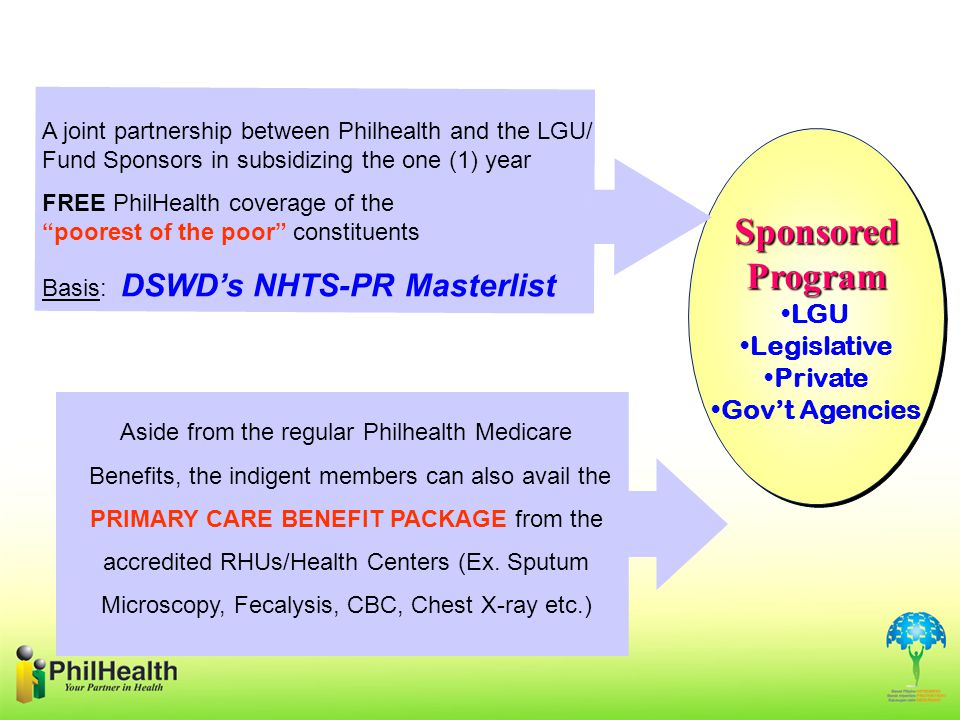 SponsoredProgram LGU Legislative Private Gov't AgenciesSponsoredProgram LGU Legislative Private Gov't Agencies Aside from the regular Philhealth Medicare Benefits, the indigent members can also avail the PRIMARY CARE BENEFIT PACKAGE from the accredited RHUs/Health Centers (Ex.