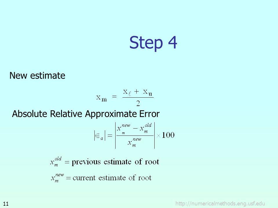 http://numericalmethods.eng.usf.edu11 Step 4 New estimate Absolute Relative Approximate Error
