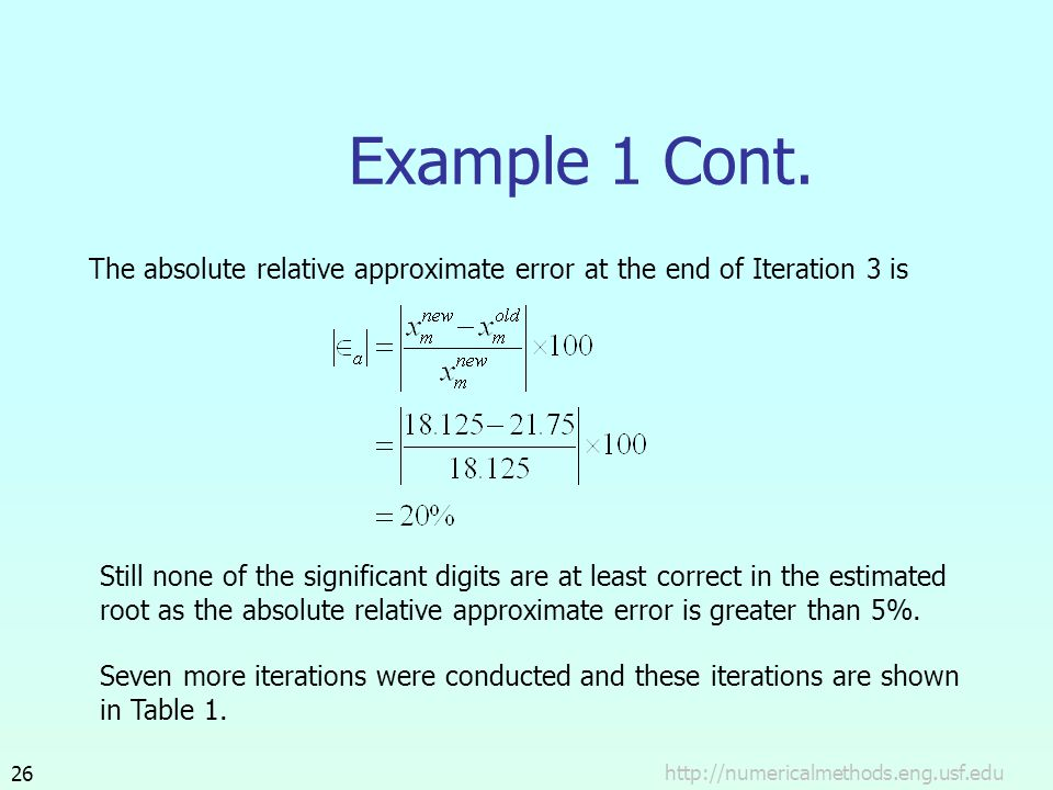 http://numericalmethods.eng.usf.edu26 Example 1 Cont. The absolute relative approximate error at the end of Iteration 3 is Still none of the significa