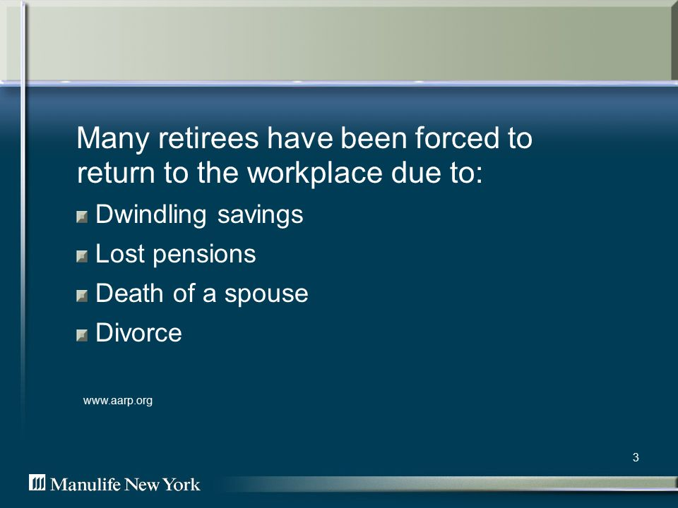 3 Many retirees have been forced to return to the workplace due to: Dwindling savings Lost pensions Death of a spouse Divorce www.aarp.org