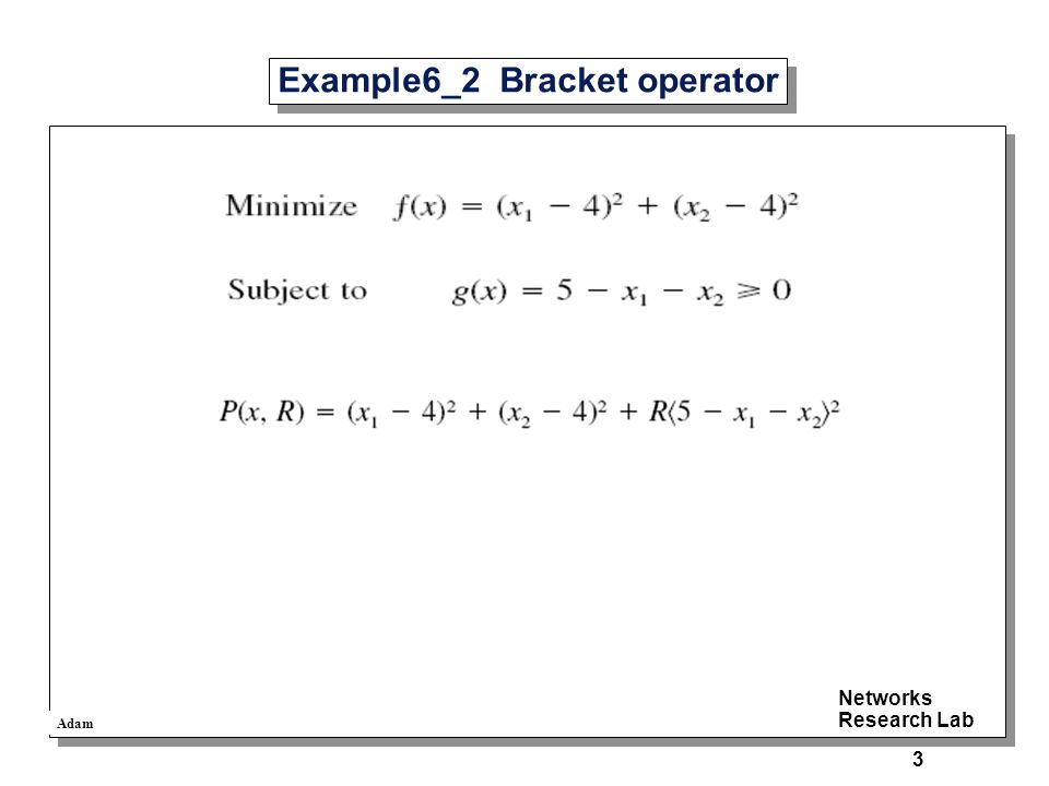 Adam Networks Research Lab 3 Example6_2 Bracket operator