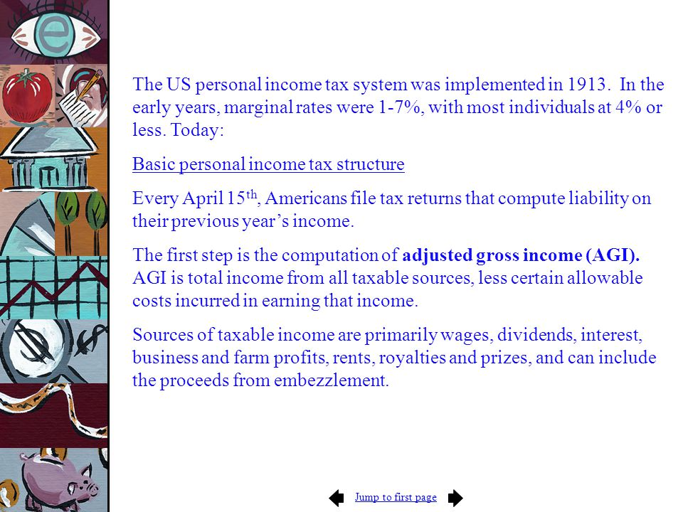 Jump to first page The US personal income tax system was implemented in 1913.