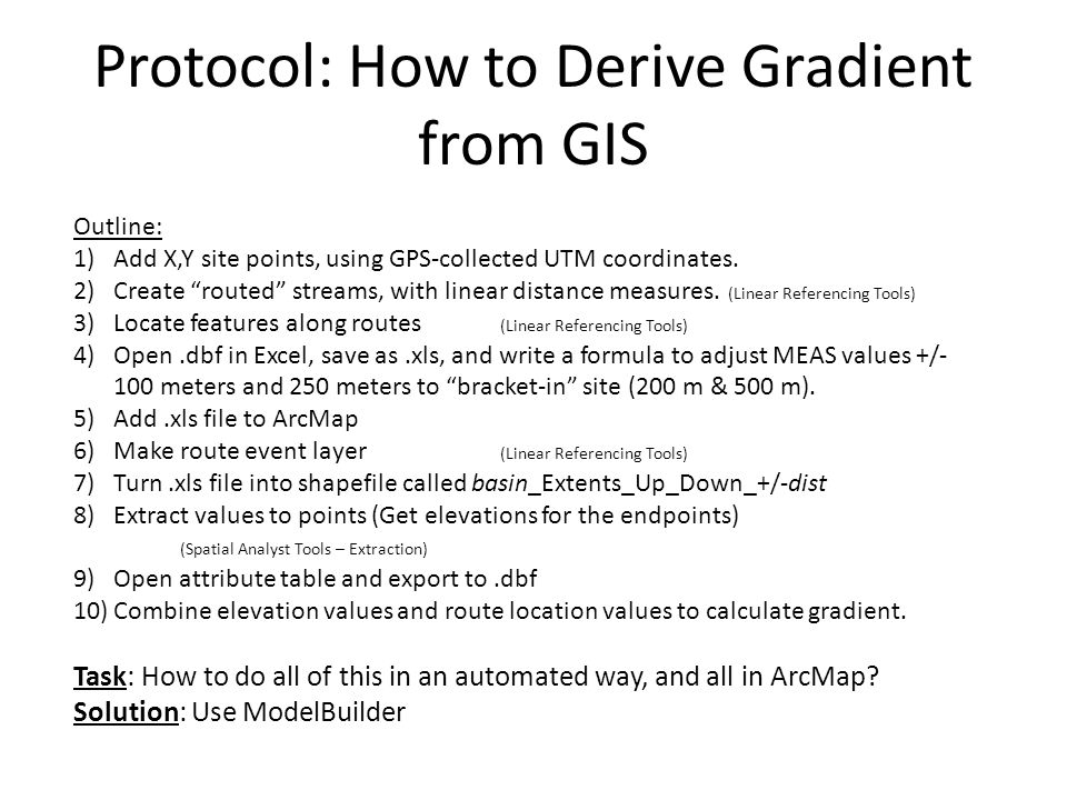 Protocol: How to Derive Gradient from GIS Outline: 1)Add X,Y site points, using GPS-collected UTM coordinates.