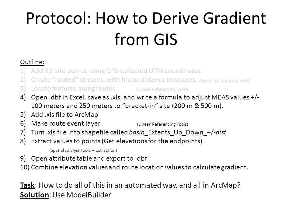 "Protocol: How to Derive Gradient from GIS Outline: 1)Add X,Y site points, using GPS-collected UTM coordinates. 2)Create ""routed"" streams, with linear"