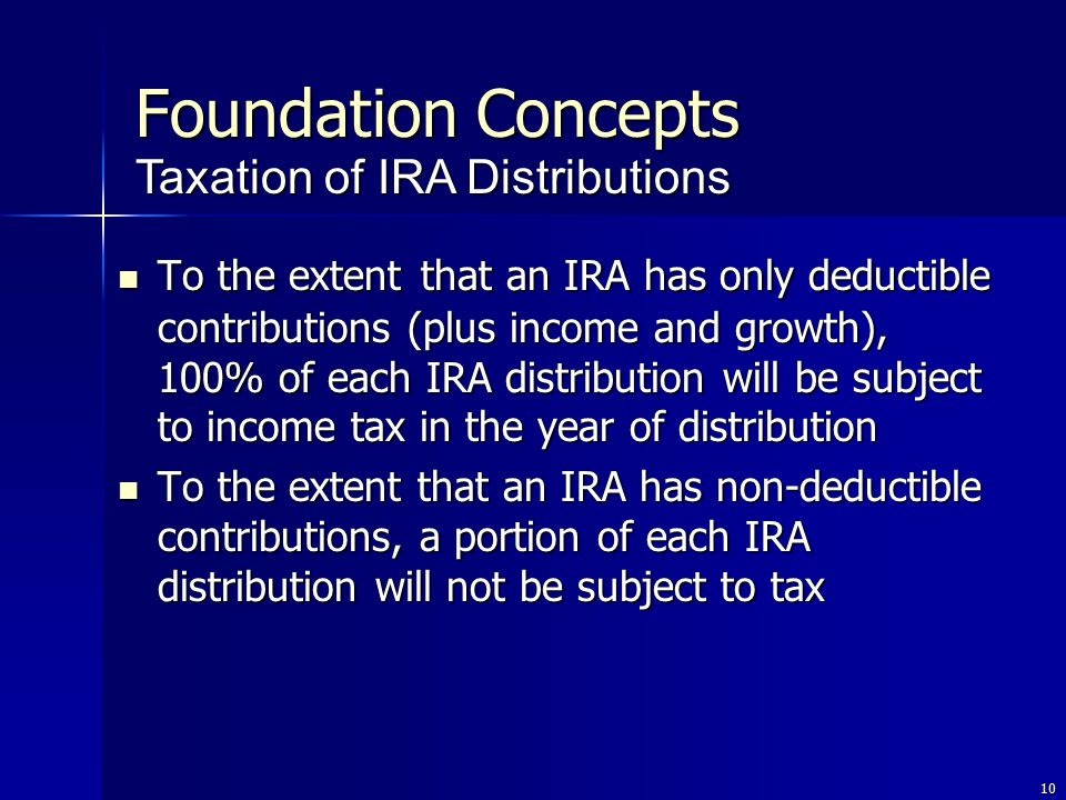 10 To the extent that an IRA has only deductible contributions (plus income and growth), 100% of each IRA distribution will be subject to income tax in the year of distribution To the extent that an IRA has only deductible contributions (plus income and growth), 100% of each IRA distribution will be subject to income tax in the year of distribution To the extent that an IRA has non-deductible contributions, a portion of each IRA distribution will not be subject to tax To the extent that an IRA has non-deductible contributions, a portion of each IRA distribution will not be subject to tax Taxation of IRA Distributions Foundation Concepts