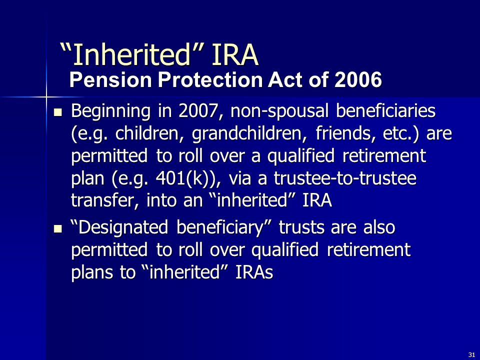 31 Beginning in 2007, non-spousal beneficiaries (e.g.