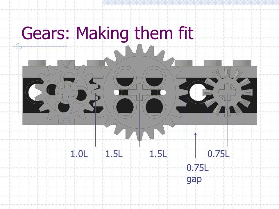 Gears: Making them fit 1.0L1.5L 0.75L 0.75L gap