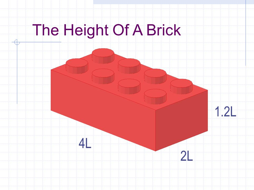 Plate Height Plate height is 1/3 of Brick Height. 1.2L / 3 = 0.4L