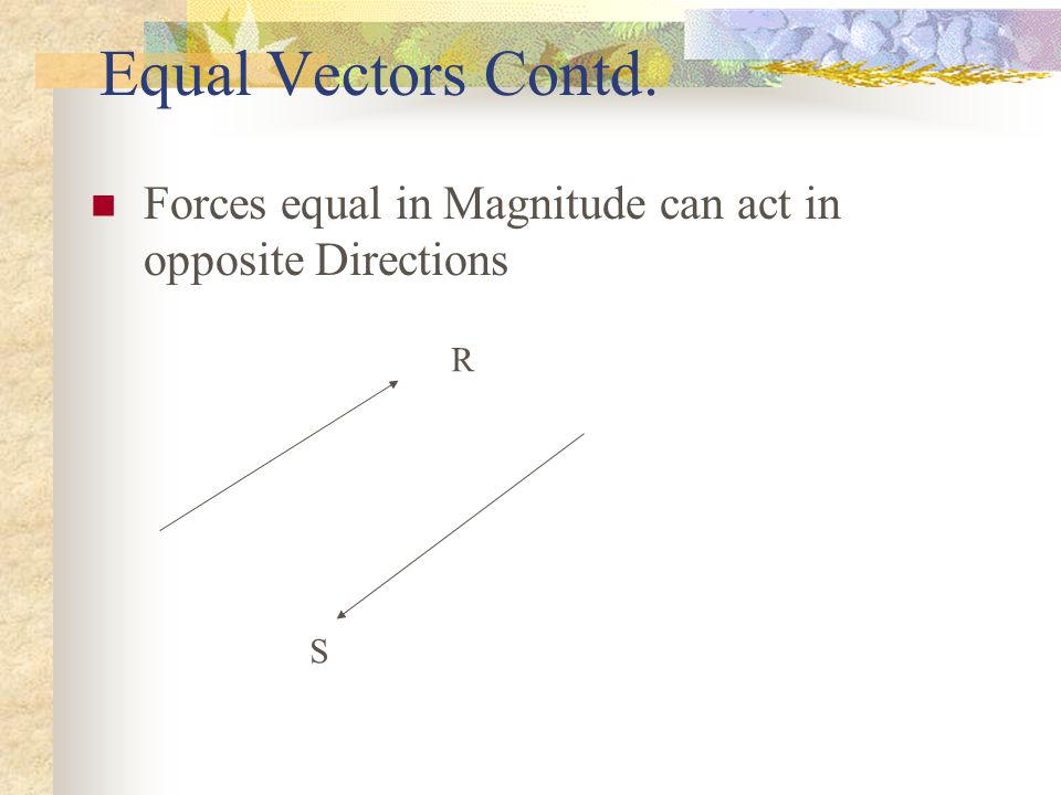 2.2.VECTOR OPERATIONS 2.3.1EQUAL VECTORS Two vectors are equal if they are equal in magnitude and act in the same direction.