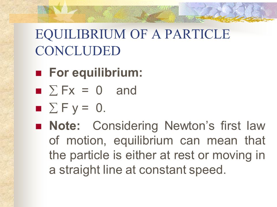 EQUILIBRIUM OF A PARTICLE CONTD.