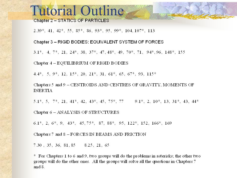 Course Textbook and Lecture Times Vector Mechanics For Engineers By F.P.