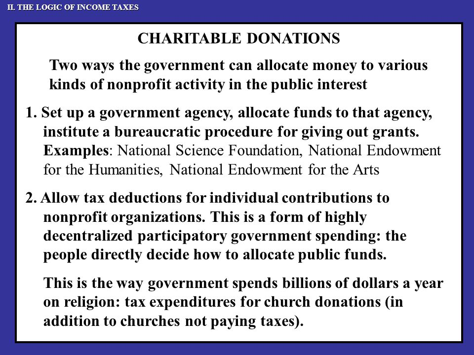 CHARITABLE DONATIONS Two ways the government can allocate money to various kinds of nonprofit activity in the public interest 1.