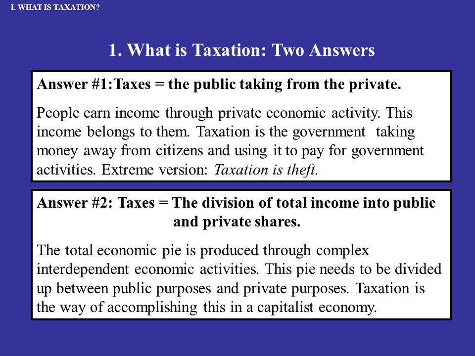 I. WHAT IS TAXATION. Answer #1:Taxes = the public taking from the private.