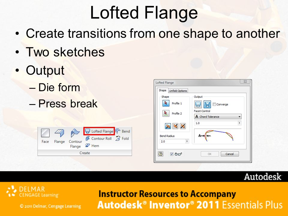 Lofted Flange Create transitions from one shape to another Two sketches Output –Die form –Press break