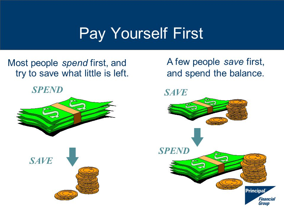 Pay Yourself First Most people spend first, and try to save what little is left. A few people save first, and spend the balance. SAVE SPEND SAVE