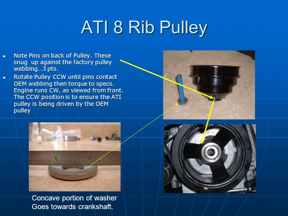 ATI 8 Rib Pulley Note Pins on back of Pulley. These snug up against the factory pulley webbing…3 pts. Note Pins on back of Pulley. These snug up again