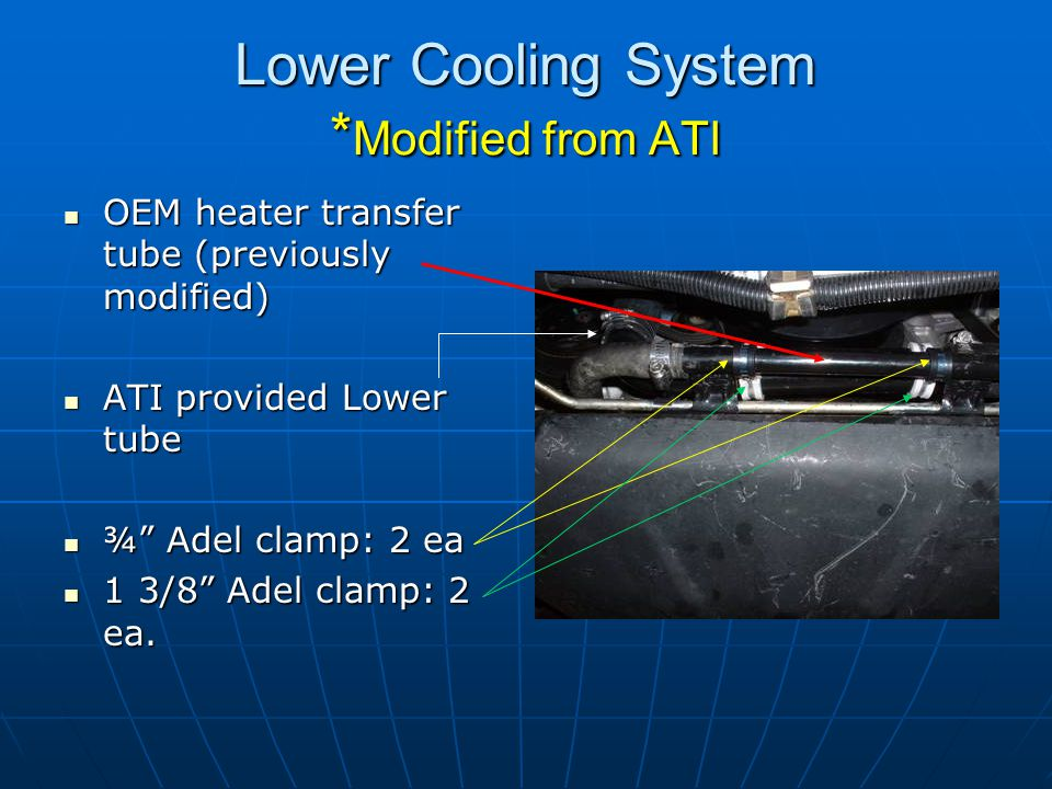 Lower Cooling System * Modified from ATI OEM heater transfer tube (previously modified) OEM heater transfer tube (previously modified) ATI provided Lo