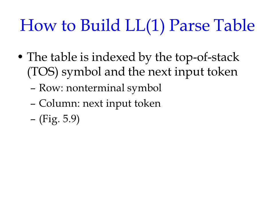 How to Build LL(1) Parse Table The table is indexed by the top-of-stack (TOS) symbol and the next input token –Row: nonterminal symbol –Column: next input token –(Fig.