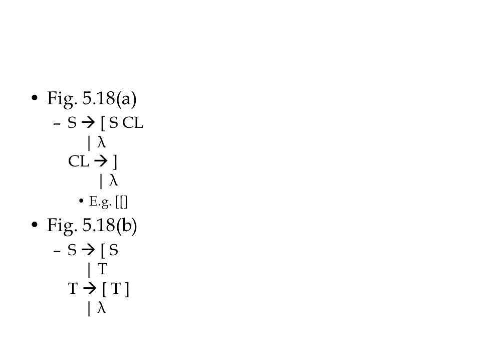 Fig. 5.18(a) –S  [ S CL | λ CL  ] | λ E.g. [[] Fig. 5.18(b) –S  [ S | T T  [ T ] | λ