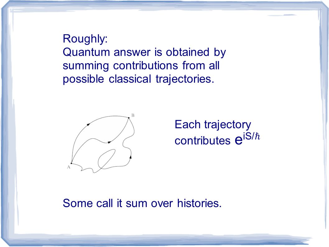 Roughly: Quantum answer is obtained by summing contributions from all possible classical trajectories. Each trajectory contributes e iS/ ℏ Some call i