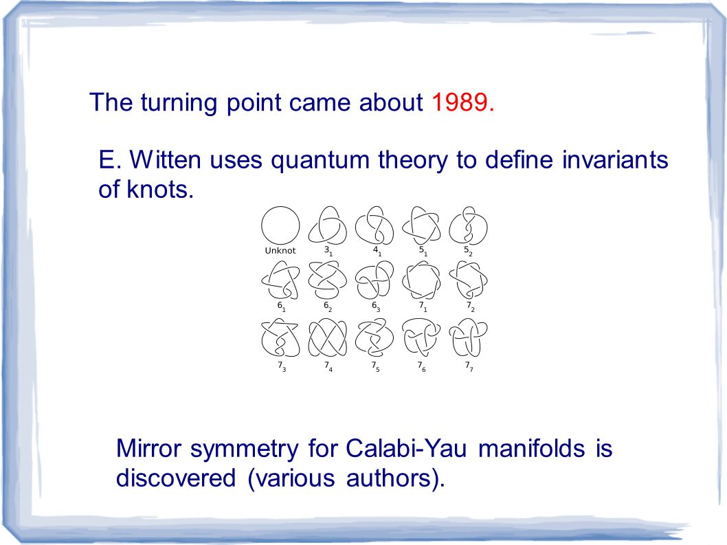 The turning point came about 1989. E. Witten uses quantum theory to define invariants of knots.