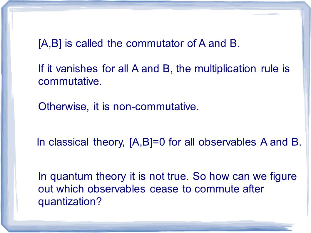 [A,B] is called the commutator of A and B. If it vanishes for all A and B, the multiplication rule is commutative. Otherwise, it is non-commutative. I