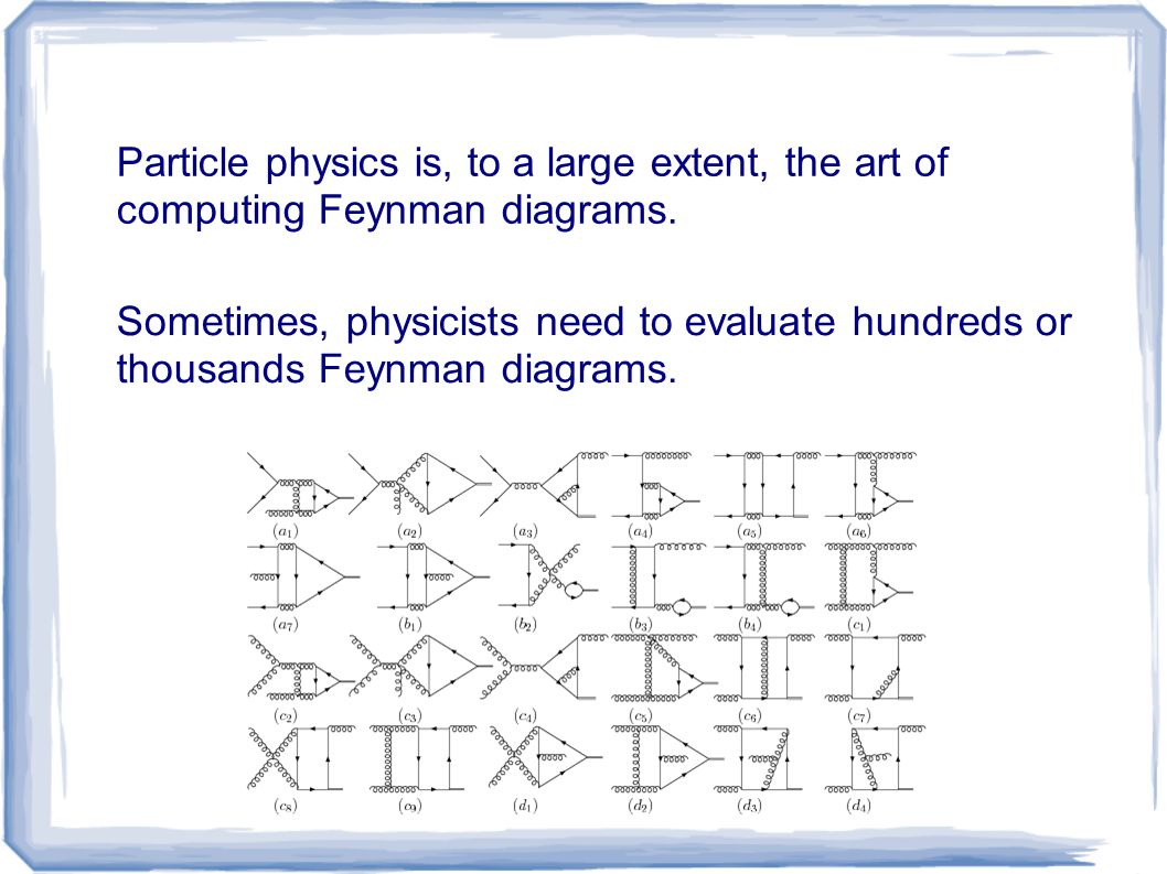 Particle physics is, to a large extent, the art of computing Feynman diagrams. Sometimes, physicists need to evaluate hundreds or thousands Feynman di