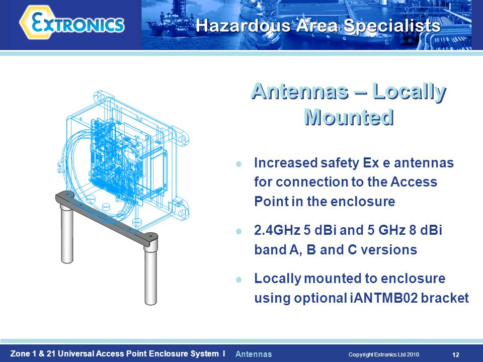 Zone 1 & 21 Universal Access Point Enclosure System I Copyright Extronics Ltd  Increased safety Ex e antennas for connection to the Access Point in the enclosure  2.4GHz 5 dBi and 5 GHz 8 dBi band A, B and C versions  Locally mounted to enclosure using optional iANTMB02 bracket Antennas – Locally Mounted Antennas