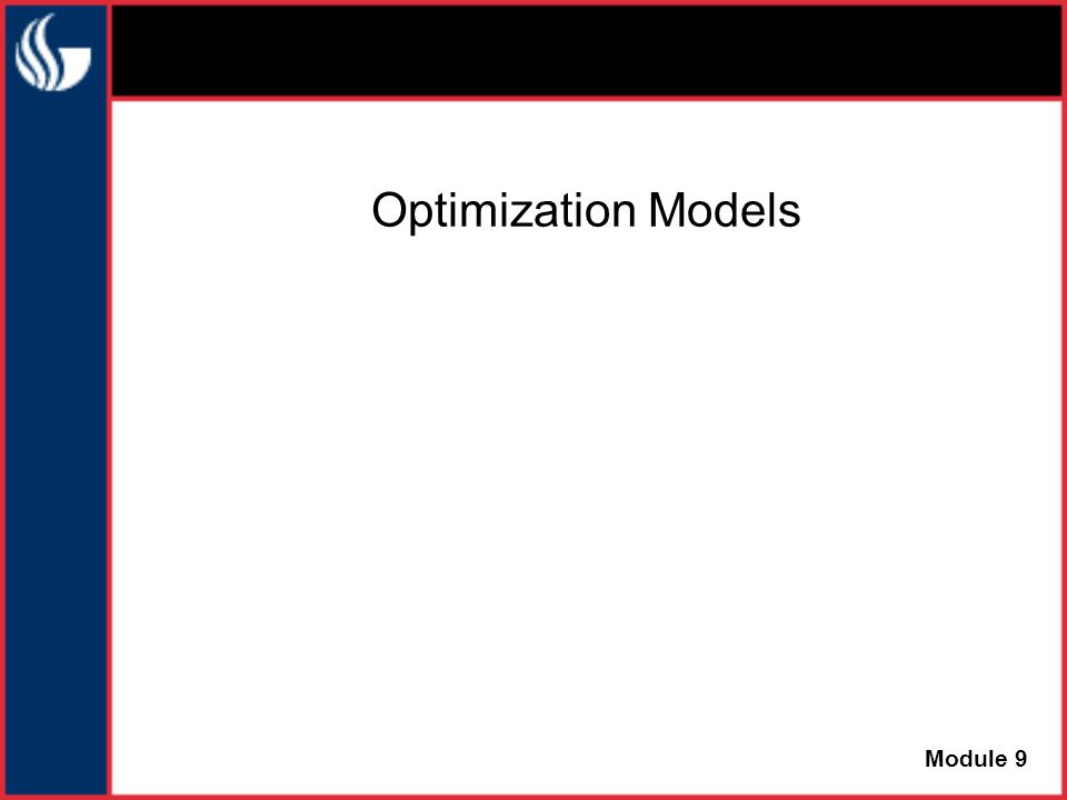 Optimization Models Module 9