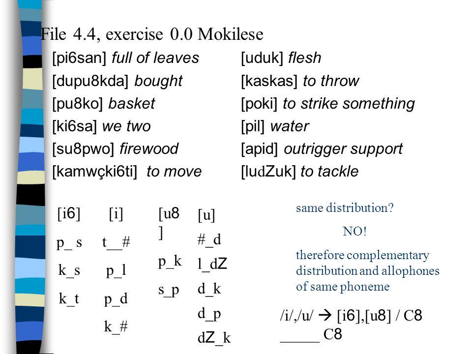 Sample Problem: Tojolabal 1. kisimmy beard 2. k'i S in warm 3. sakwhite 4. ? ak'read n are [k] and [k'] allophones of the same phoneme? No, we have 2