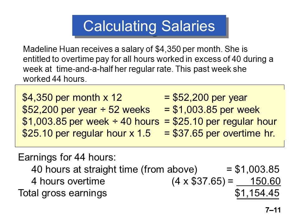 7–11 Calculating Salaries Madeline Huan receives a salary of $4,350 per month.