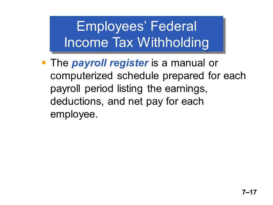 7–17 Employees' Federal Income Tax Withholding  The payroll register is a manual or computerized schedule prepared for each payroll period listing the earnings, deductions, and net pay for each employee.