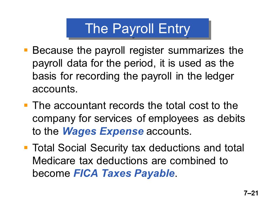 7–21 The Payroll Entry  Because the payroll register summarizes the payroll data for the period, it is used as the basis for recording the payroll in the ledger accounts.