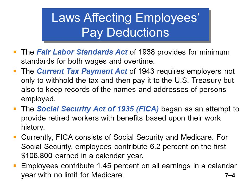 7–5 Laws Affecting Employer's Payroll Tax Contributions  The employer has to match the amount of FICA taxes withheld from the employee's wages, and this amount is recorded by debiting Payroll Tax Expense.
