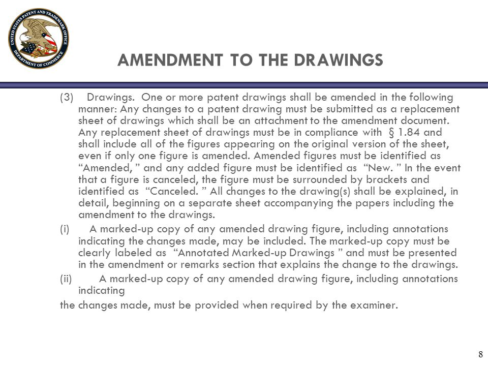 8 AMENDMENT TO THE DRAWINGS (3) Drawings. One or more patent drawings shall be amended in the following manner: Any changes to a patent drawing must b