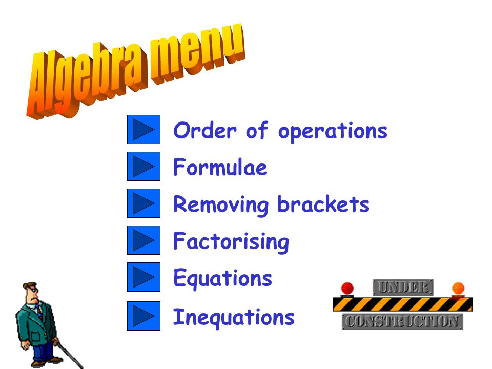 Order of operations Equations Formulae Removing brackets Factorising Inequations