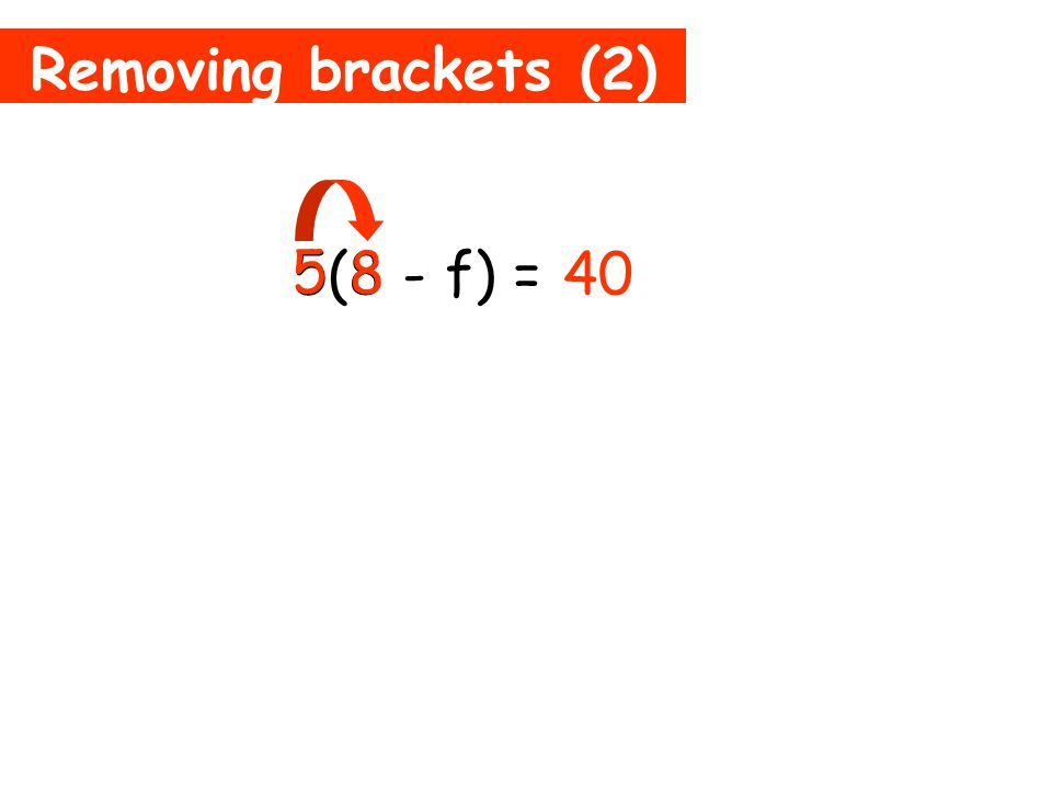 Removing brackets (1) 3(b + 5) = 3b + 15 3 5 + This means 3 times 5