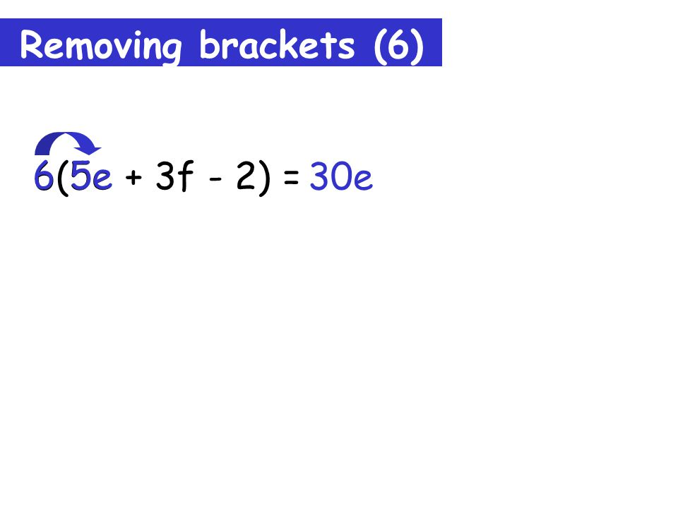 Removing brackets (5) c(3c + b) = 3c² + bc c b + Tip: Remember to draw lines to keep you right.